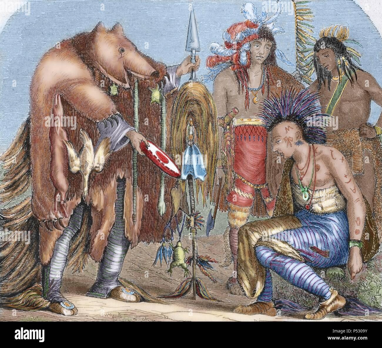 Estados Unidos. Los indios. Los Iroqueses y Chippewa médicos, los ...