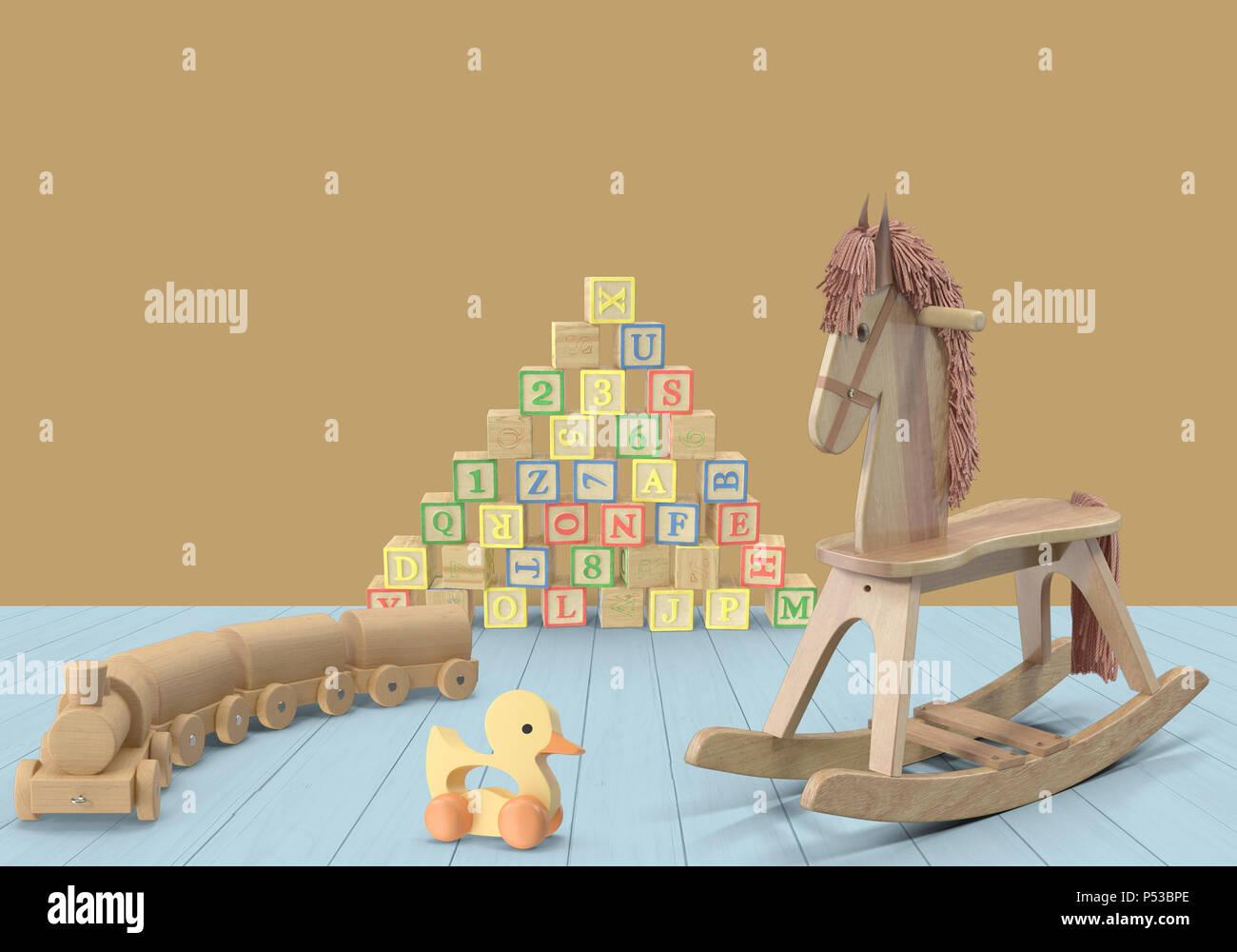 El caballo y el tren de juguete Imagen De Stock