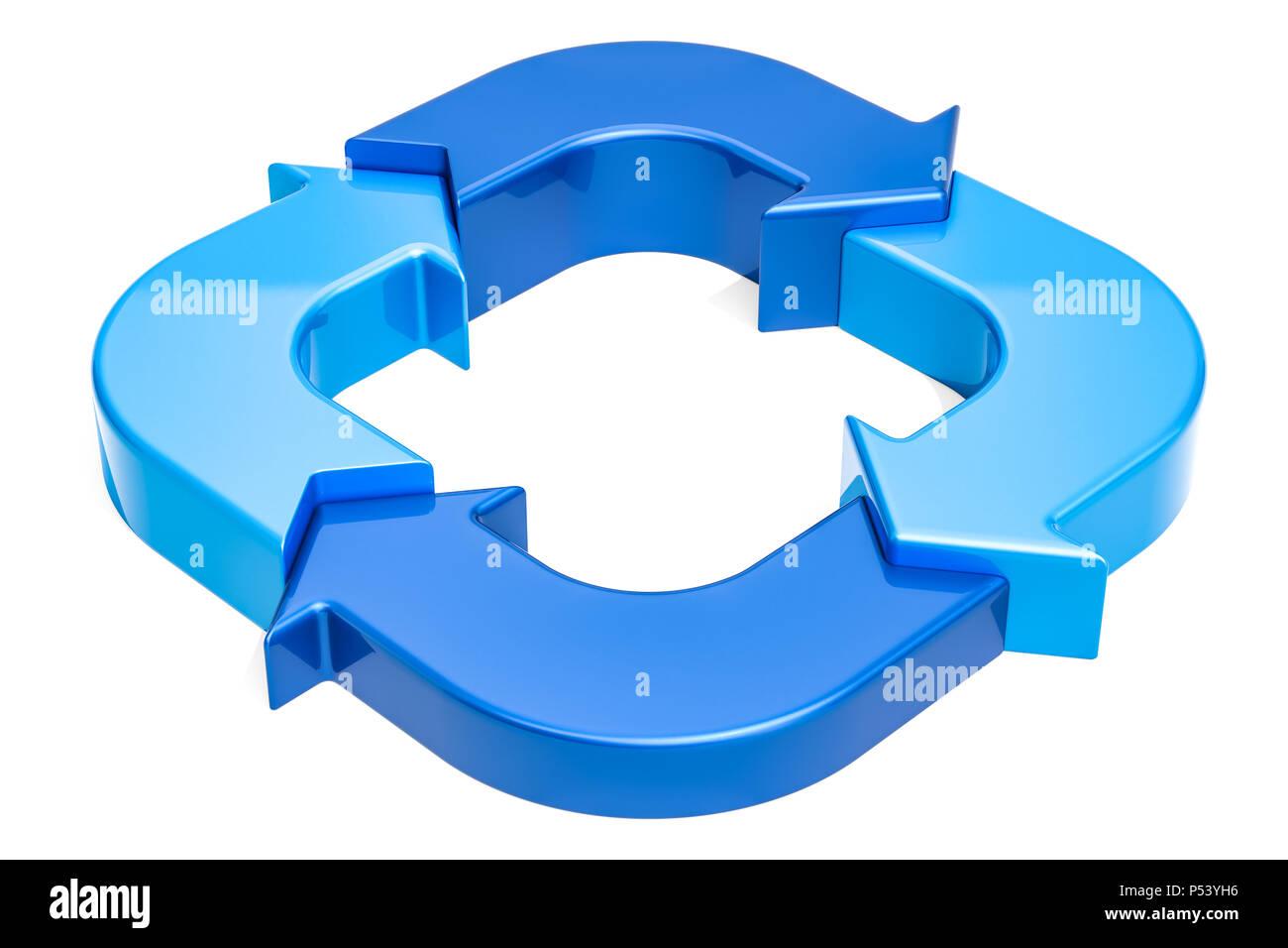 Diagrama De Anillo De Flechas Azules, 3D Rendering Aislado