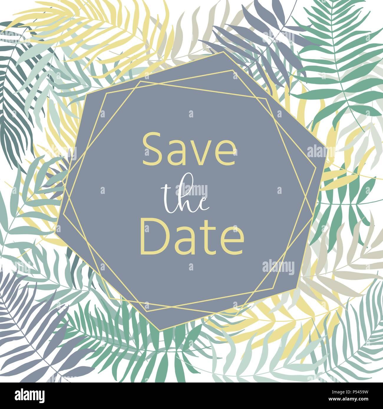 Invitacion De Boda Con Flores Hojas Tropicales Corona Geometrica