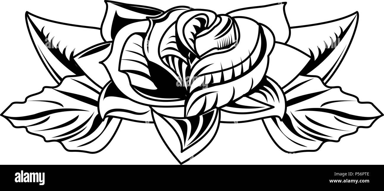 Dibujo De Tatuaje De Flores En Blanco Y Negro Ilustracion Del Vector