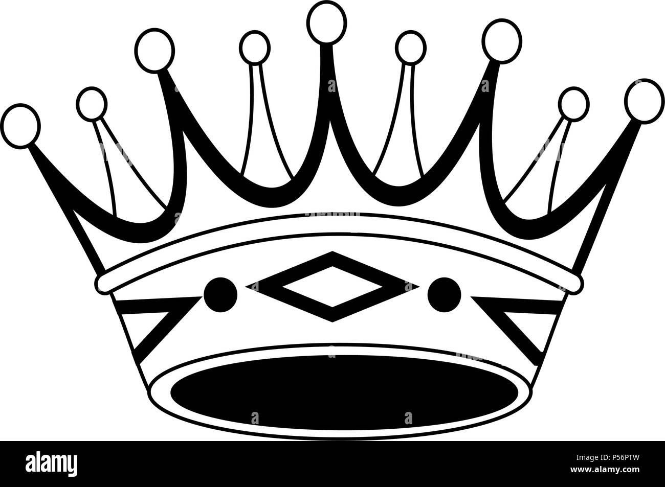 Símbolo De Corona De Lujo En Blanco Y Negro Ilustración Del Vector