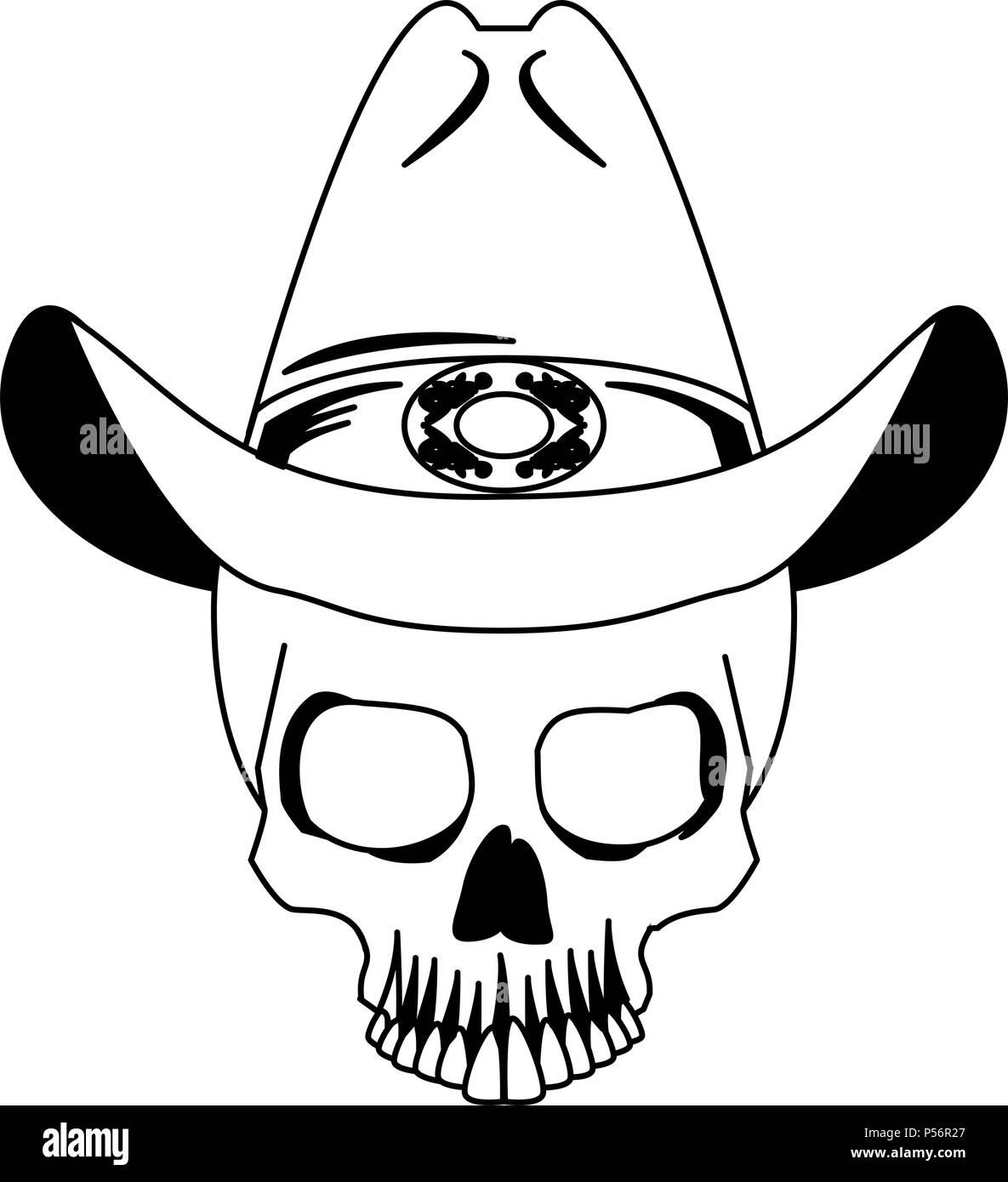 Cráneo De Tatuaje Dibujo En Blanco Y Negro Ilustración Del Vector