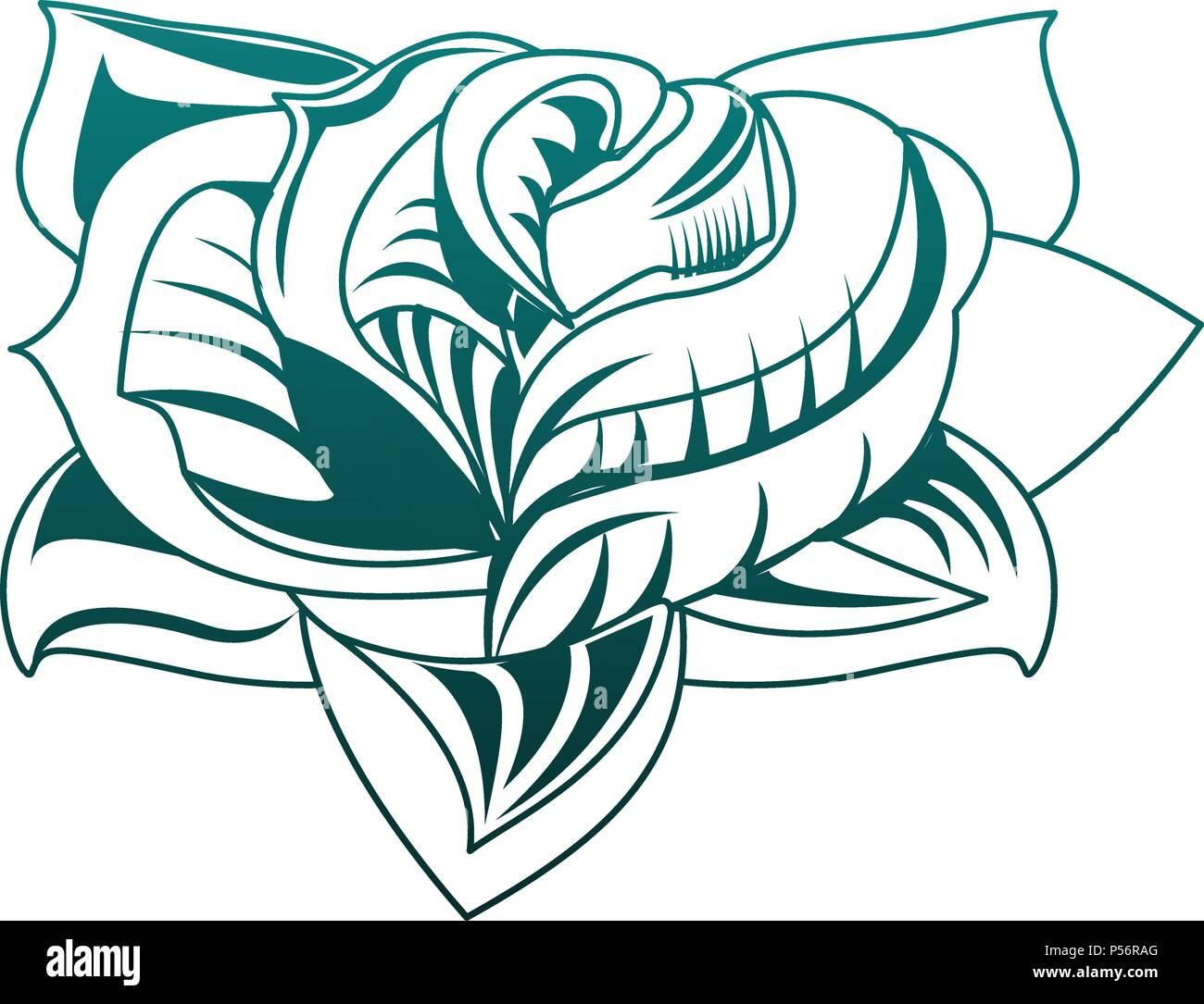 Dibujo De Tatuaje De Flores En Lineas Azules Ilustracion Del Vector
