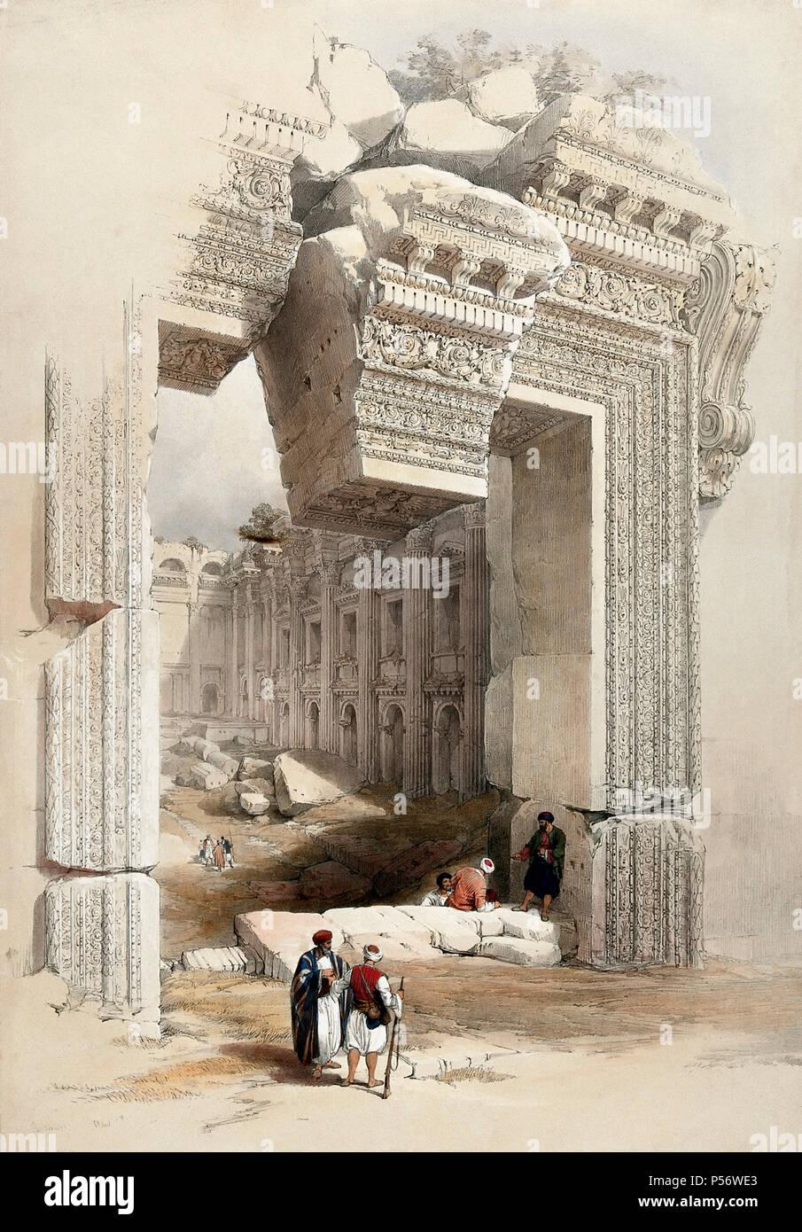 La portada, de Baalbec, Líbano. Litografía por Louis Haghe, después de David Roberts. Imagen De Stock