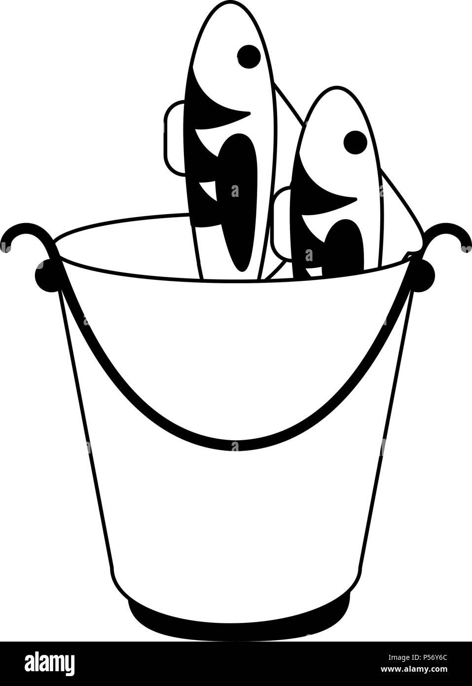 Los Peces En La Cuchara En Blanco Y Negro Ilustración Del Vector