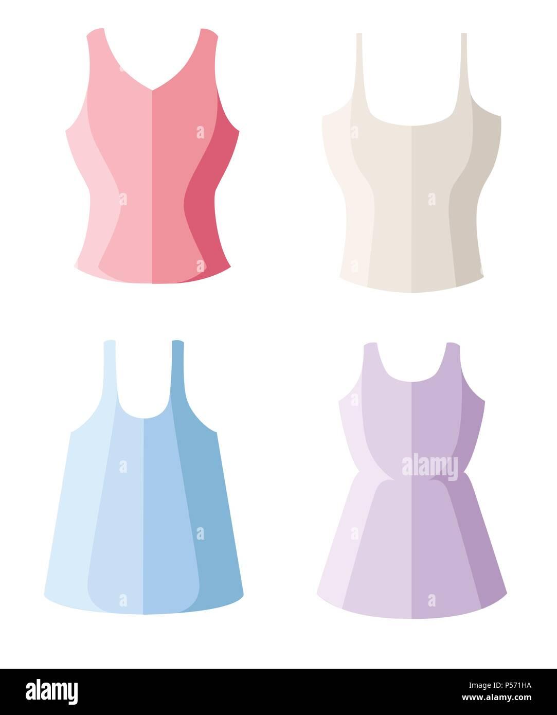 1ddaa01e1c Conjunto de cuatro mujeres tank top. Mujer ropa de verano. Ilustración  vectorial plano aislado
