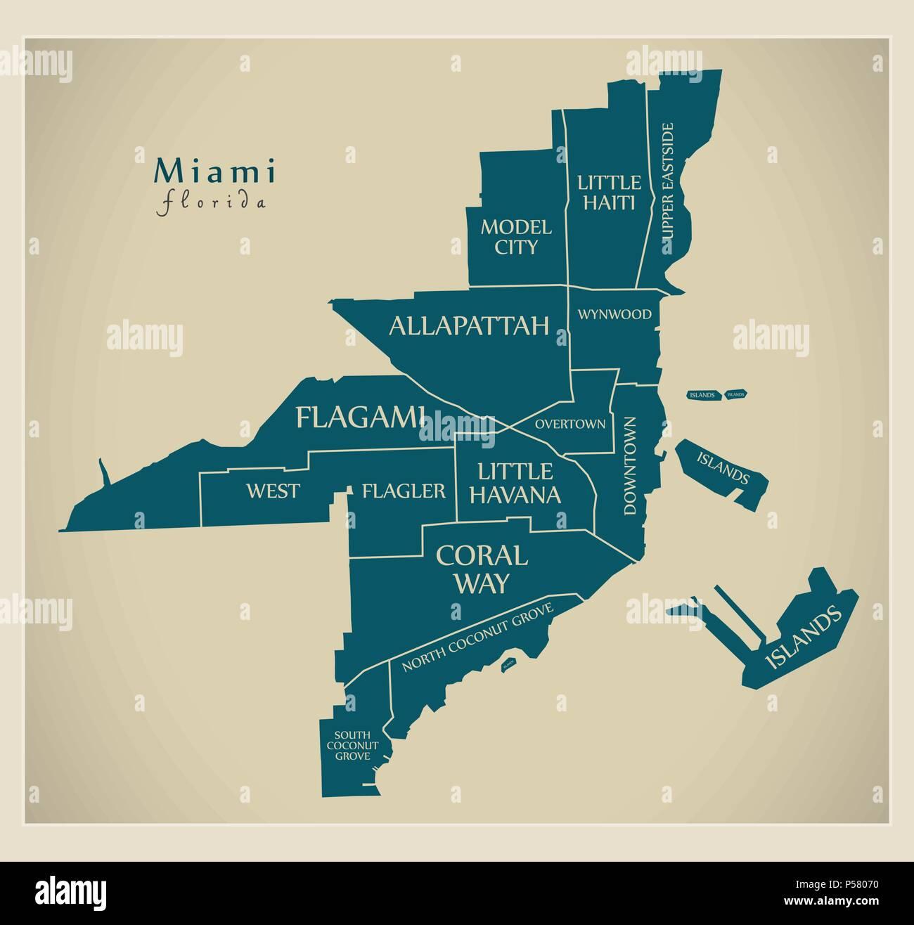 ciudad moderna - mapa de la ciudad de miami, florida