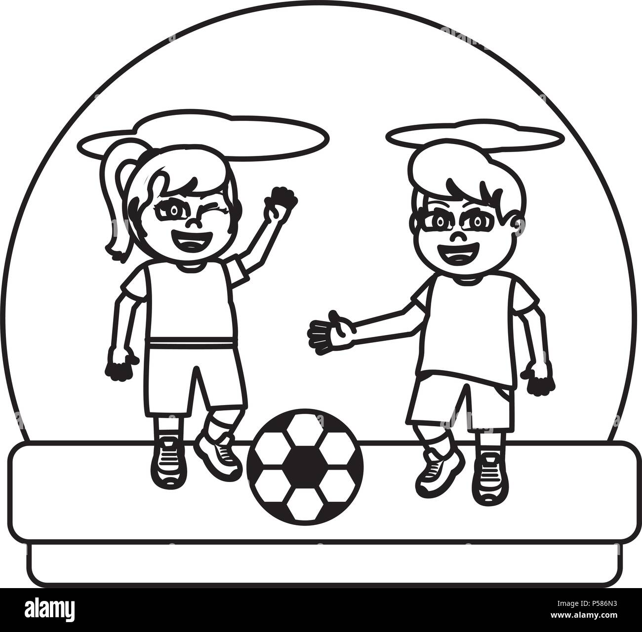 Nina Y Nino Linea Jugando Futbol Sprot Ilustracion Vectorial