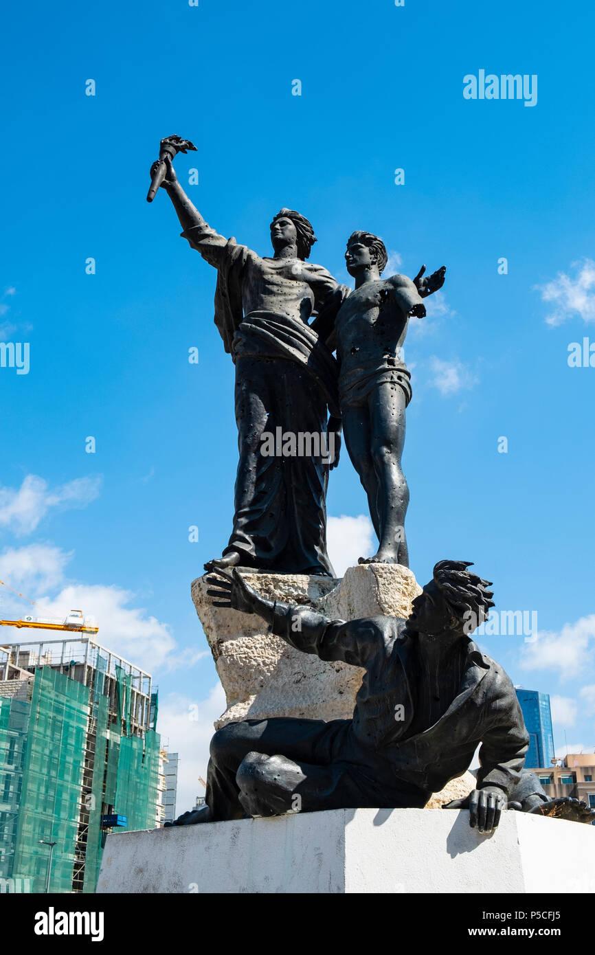 Los mártires estatua en la Plaza de los Mártires en Beirut, Líbano Imagen De Stock