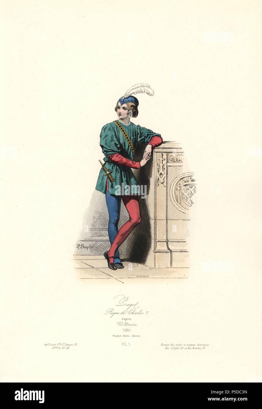 Página, reinado de Carlos V, 1380. Handcolored acero grabado por ...