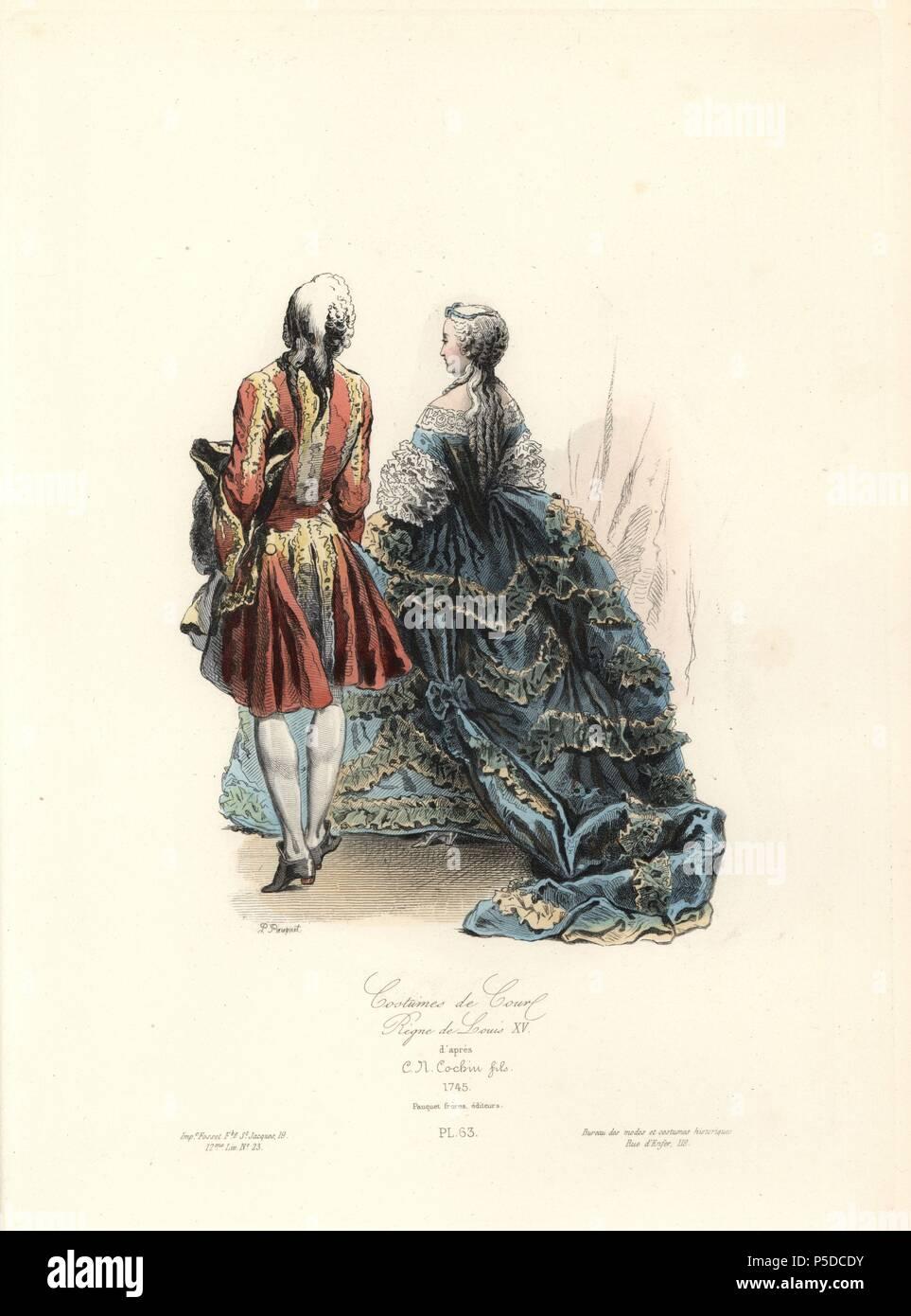 Corte trajes, reinado de Luis XV, 1745. Handcolored acero grabado ...