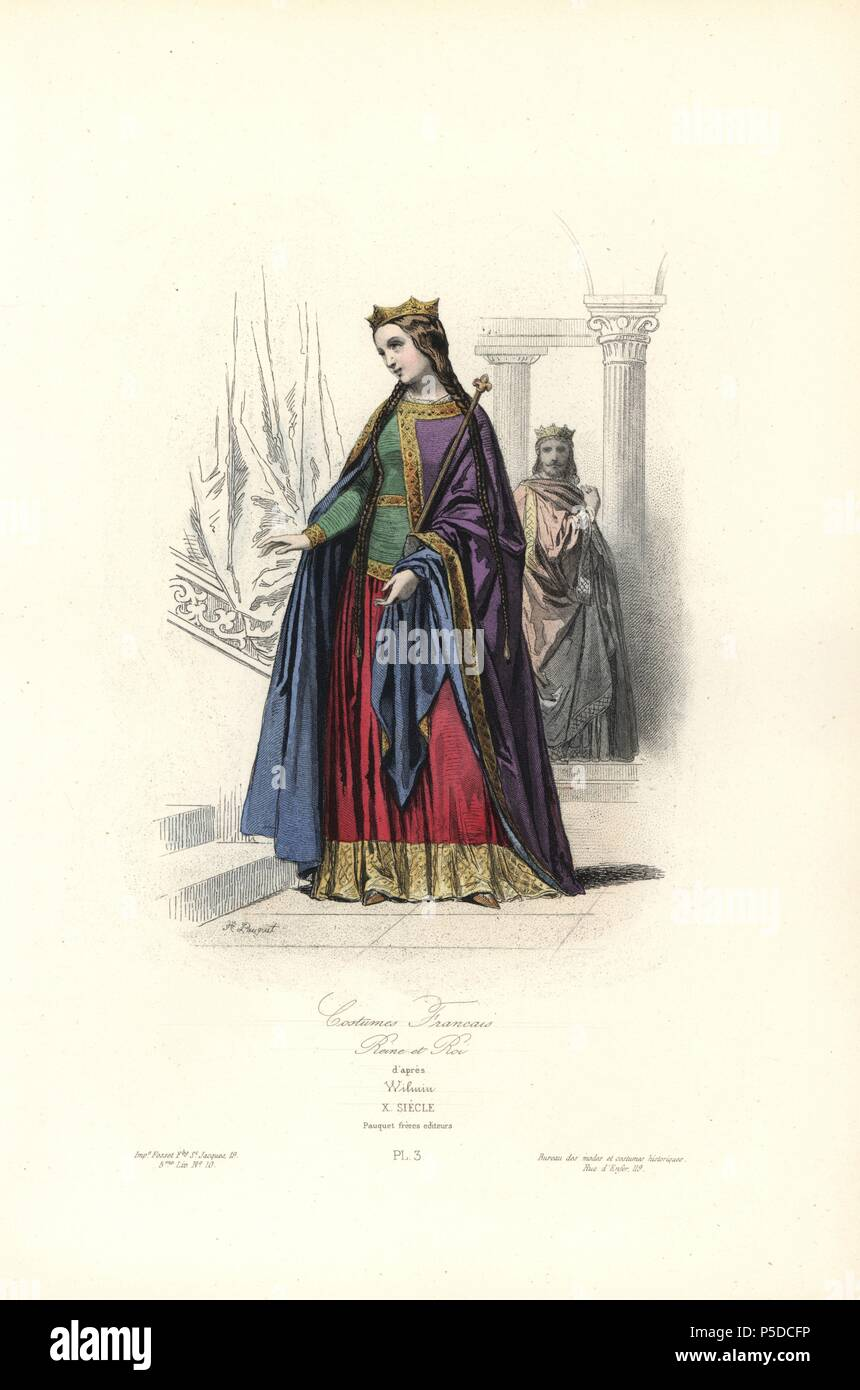 Los trajes de la realeza francesa, siglo 10. Handcolored acero ...