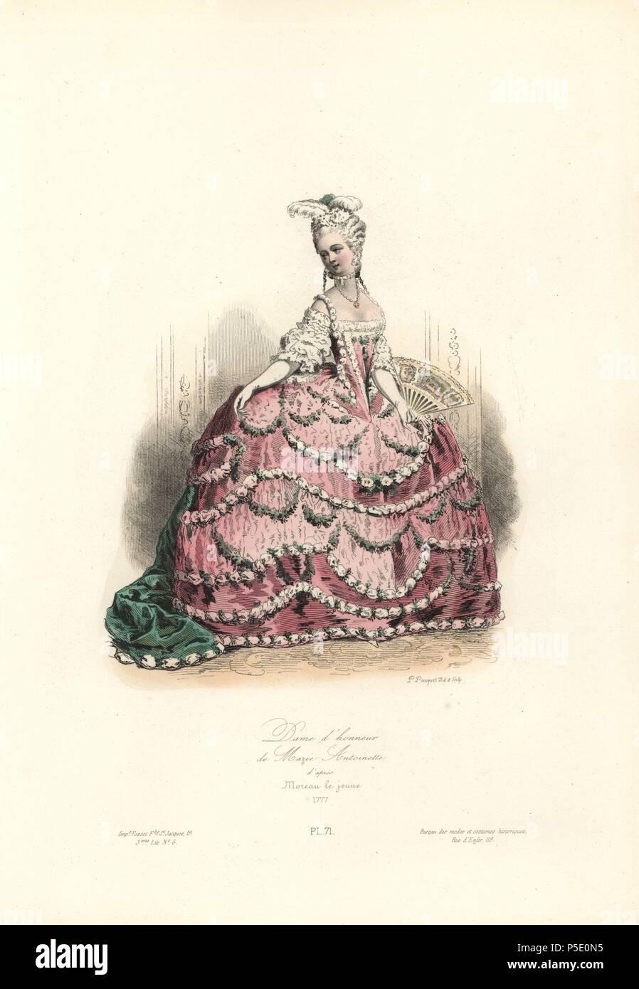 ec807afa4e54 Dama de honor de María Antonieta, 1777. Handcolored acero grabado por  pulidor Pauquet después Moreau el ...