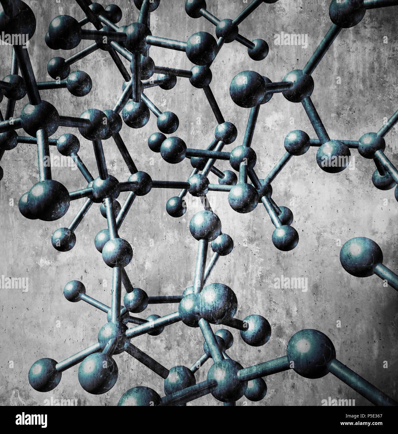 Icono de molécula concepto como un grupo de átomos tridimensional en un fondo azul conectados por enlaces químicos como una ciencia molecular. Imagen De Stock