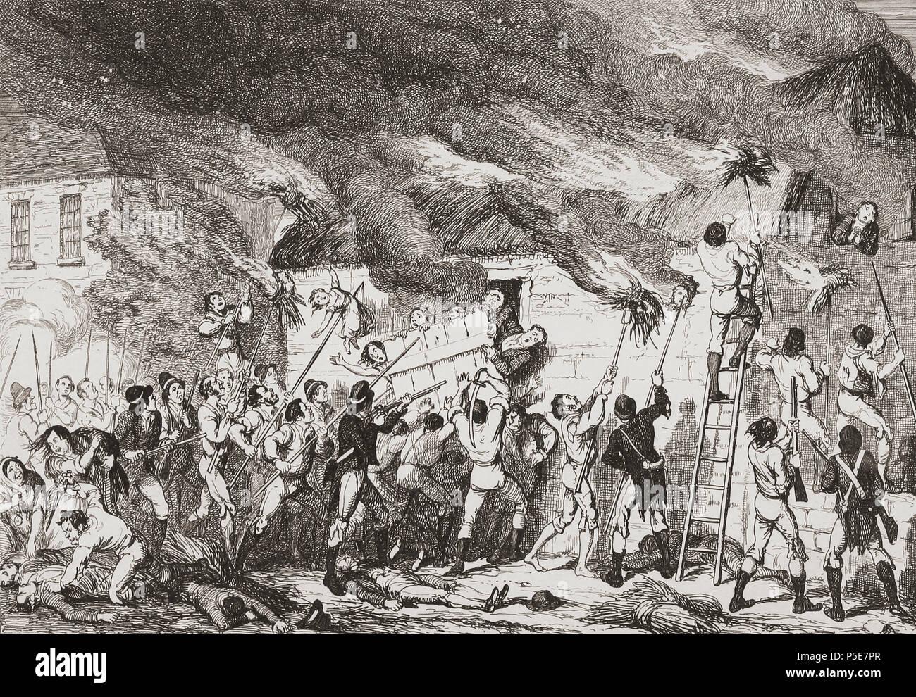 """""""Masacre en Scullabogue"""". Ilustración por George Cruikshank. La masacre fue una atrocidad cometida por insurgentes durante la rebelión irlandesa de 1798 que costó la vida de más de 100 no combatientes, hombres, mujeres y niños. Tuvo lugar en Scullabogue, cerca Newbawn, Condado de Wexford. De la historia de la rebelión irlandesa en 1798; con memorias de la Unión, y Emmett la insurrección en 1803 por W.H. Maxwell. Publicado en Londres 1854. Foto de stock"""