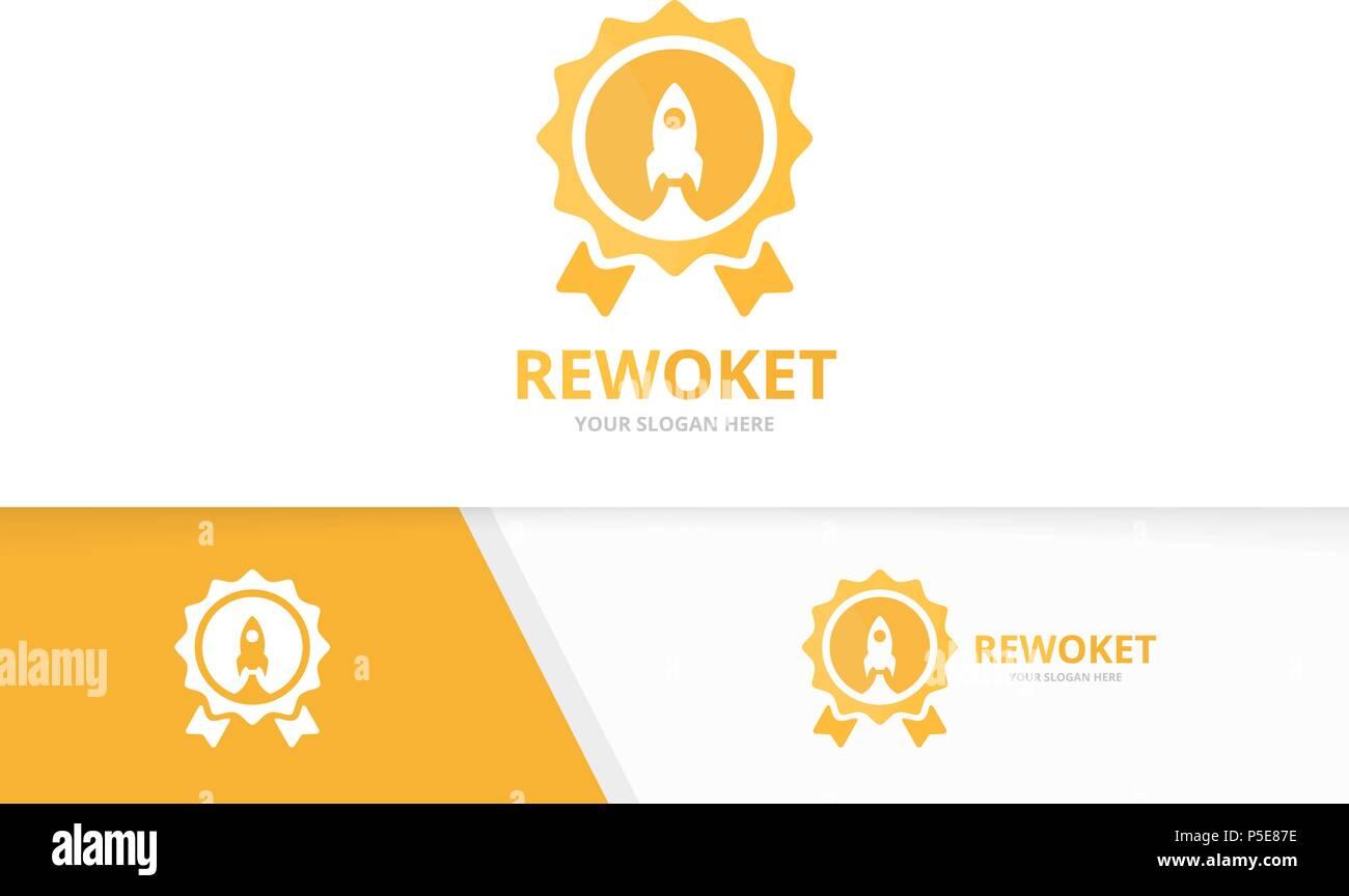 Recompensa y cohete vector logo combinación. Trofeo y arranque ...