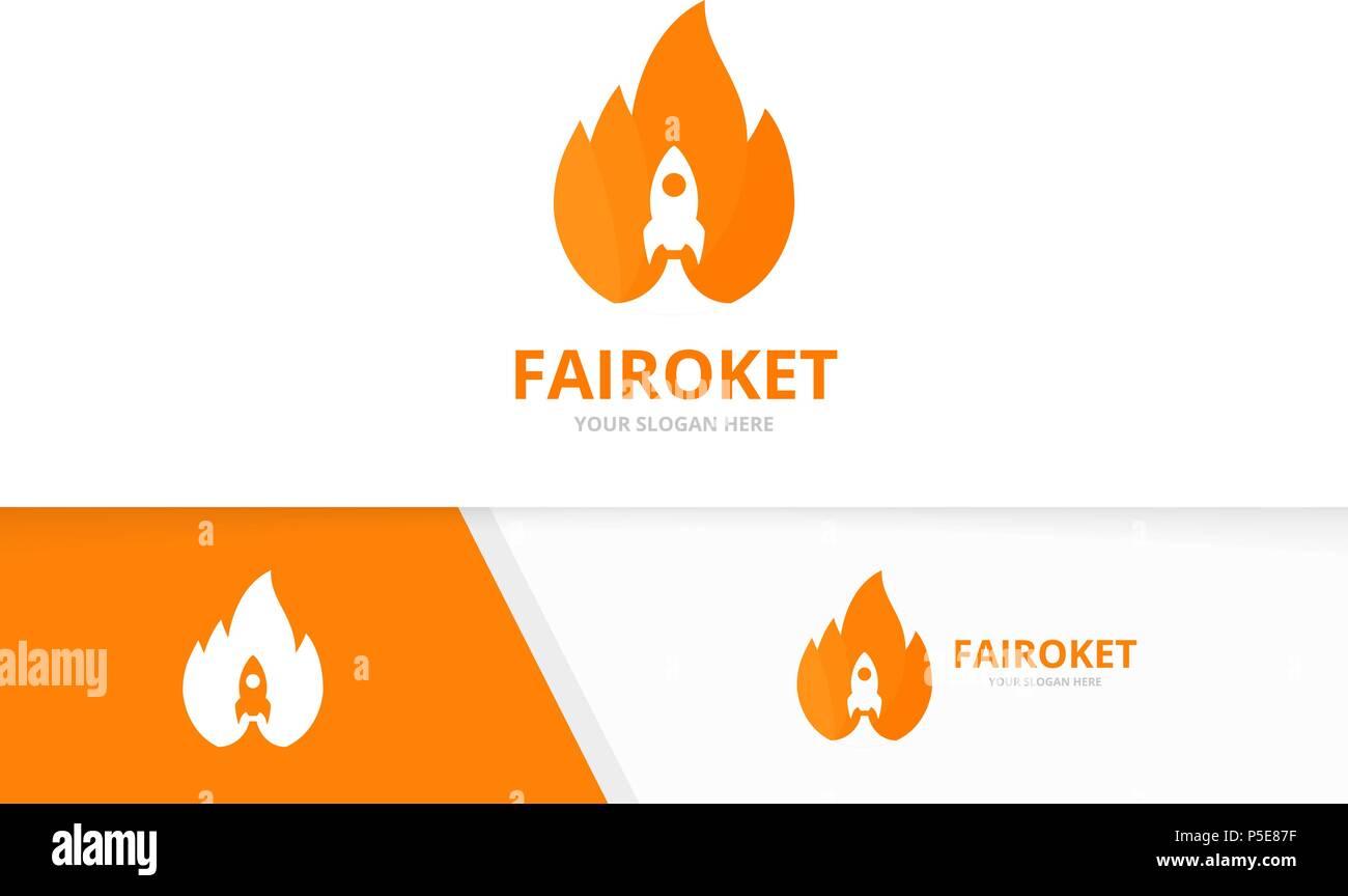 Vector logo de cohetes y fuego de combinación. Llama y arranque ...