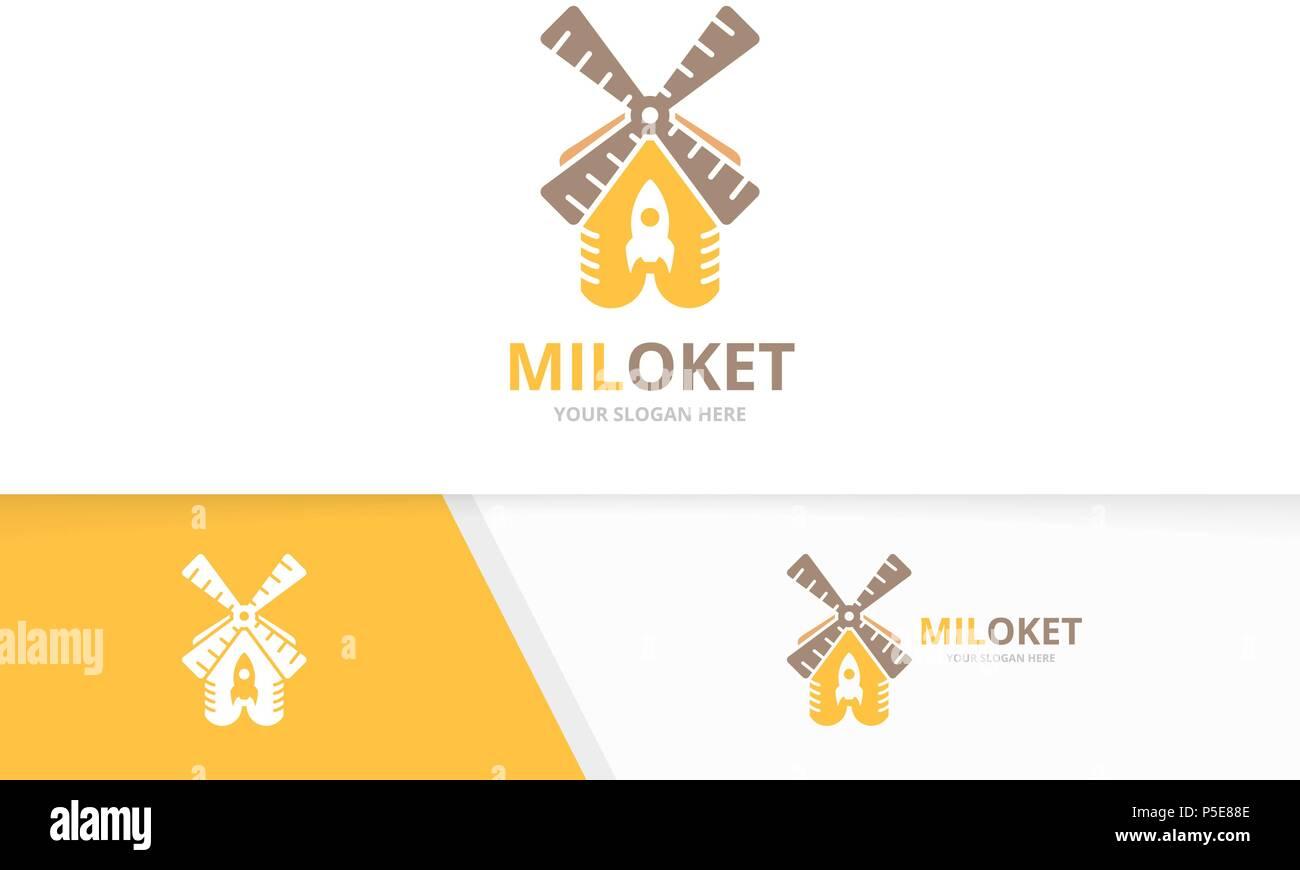 Logotipo de cohete vector molino y combinación. Granja y arranque ...