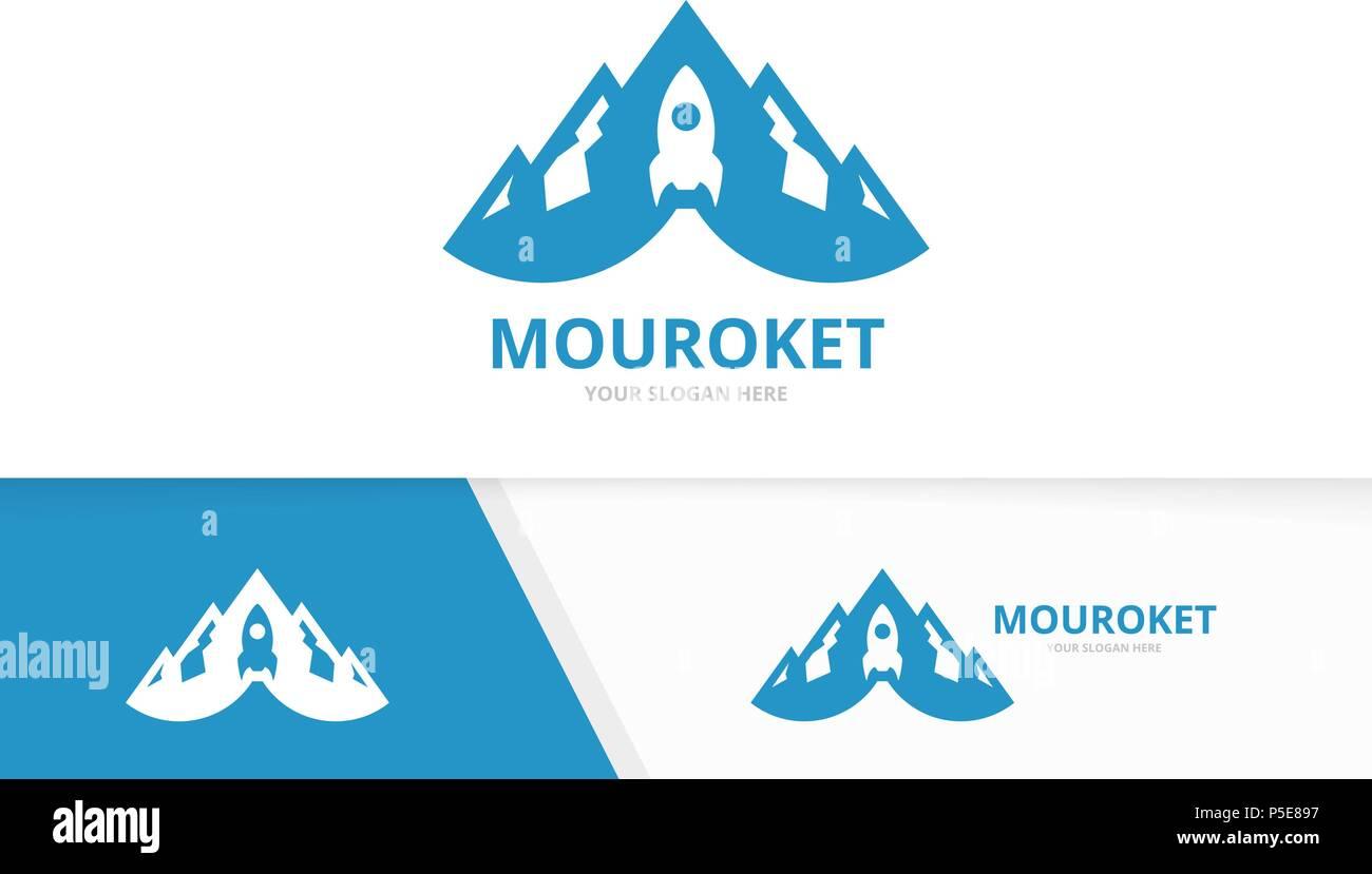 Montaña y cohete vector logo combinación. Naturaleza y arranque ...