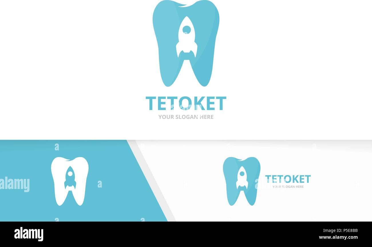 El diente y el cohete vector logo combinación. Dental y arranque ...