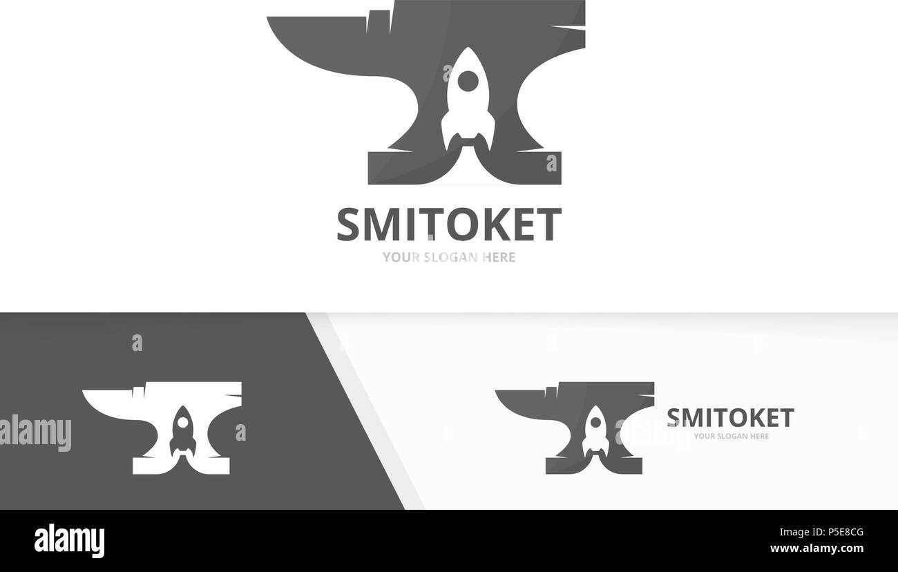 Smith y cohete vector logo combinación. Herrero y arranque Símbolo o ...