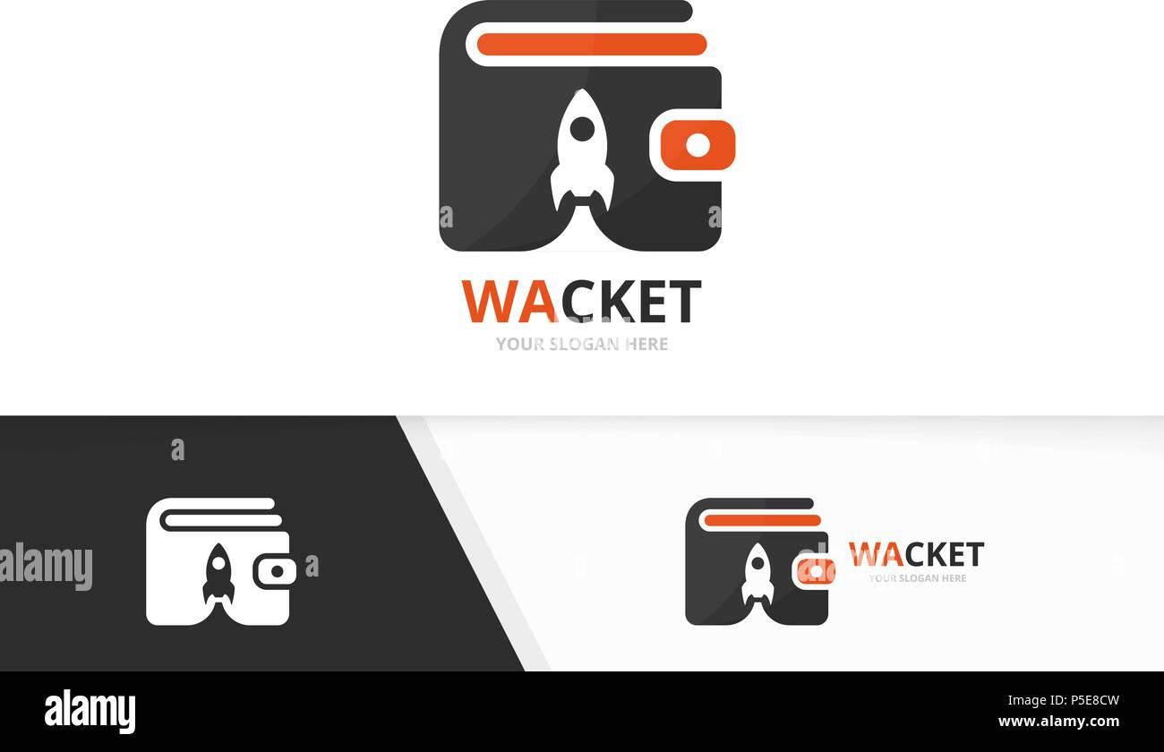 Monedero y cohete vector logo combinación. Bolso y arranque Símbolo ...