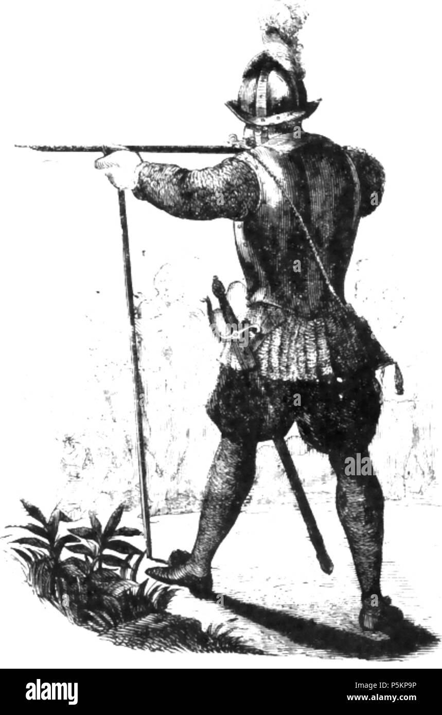 N/A. Español: Pedro de Candia, artillero mayor del Perú y uno de los trece de la Fama (siglo XVI) . 1891. Reproducción de un grabado de autor anónimo 119 Arcabucero-Pedro de Candia Imagen De Stock