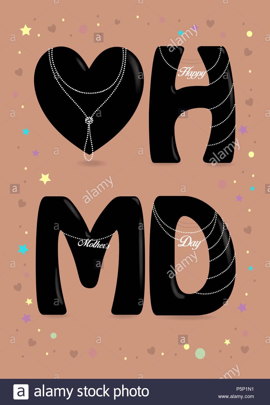 Feliz Día de las madres. Gran corazón negro y letras - H, M y D ...