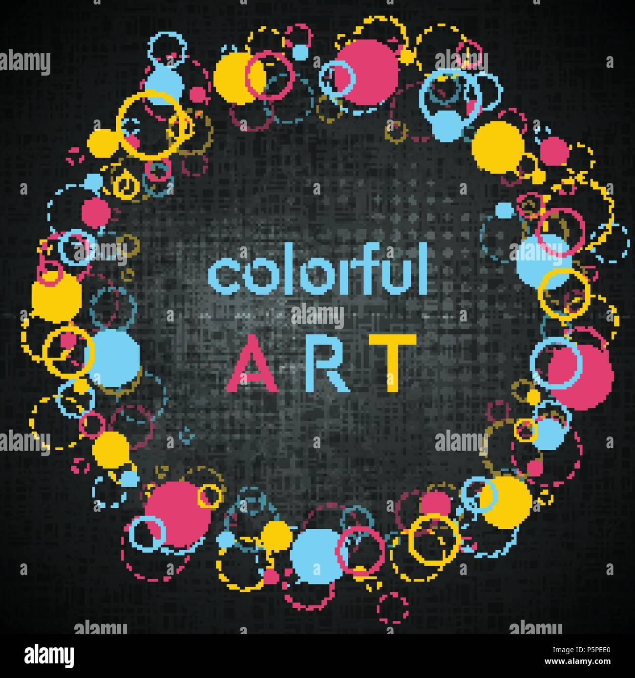 Colorido Estilo Hipster Geométrica Abstracta Bastidor Redondo Para