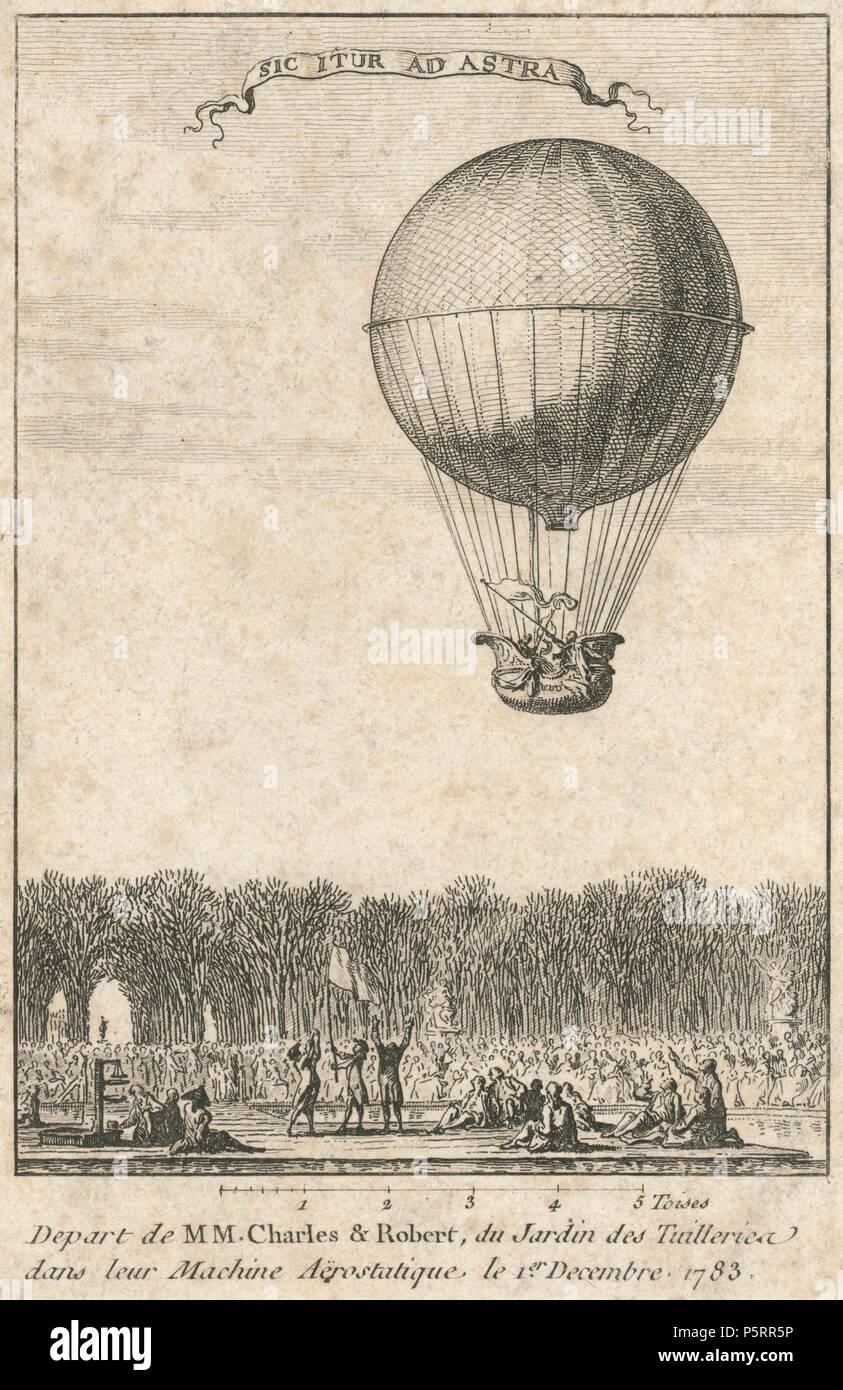 436 salen de MM. Charles &Amp; Robert, du Jardin des Tuilleries dans leur máquina aërostatique Foto de stock