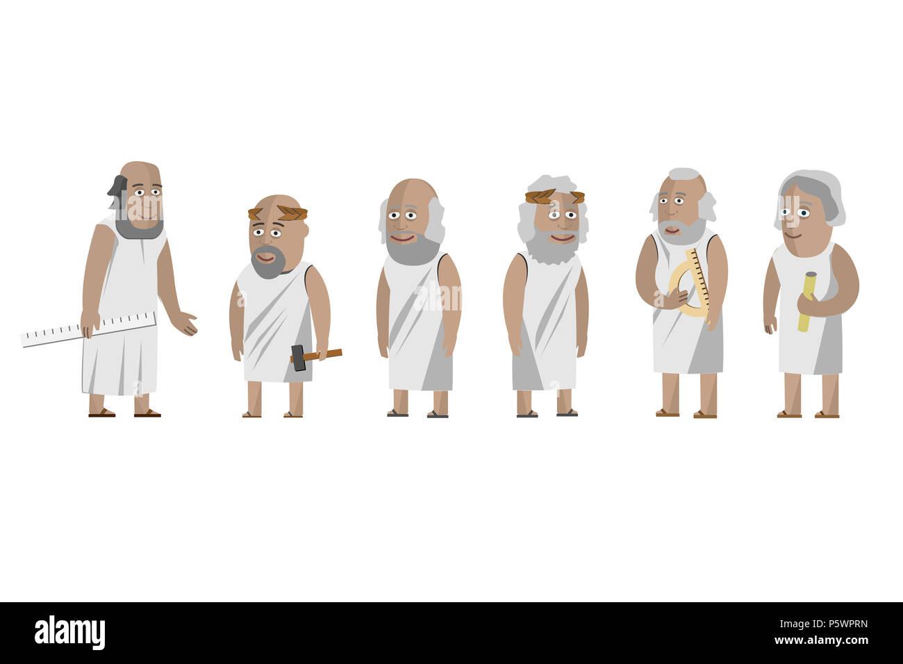 Los filósofos griegos científicos. Viejo hombre. Grecia. Vectores aislados Imagen De Stock