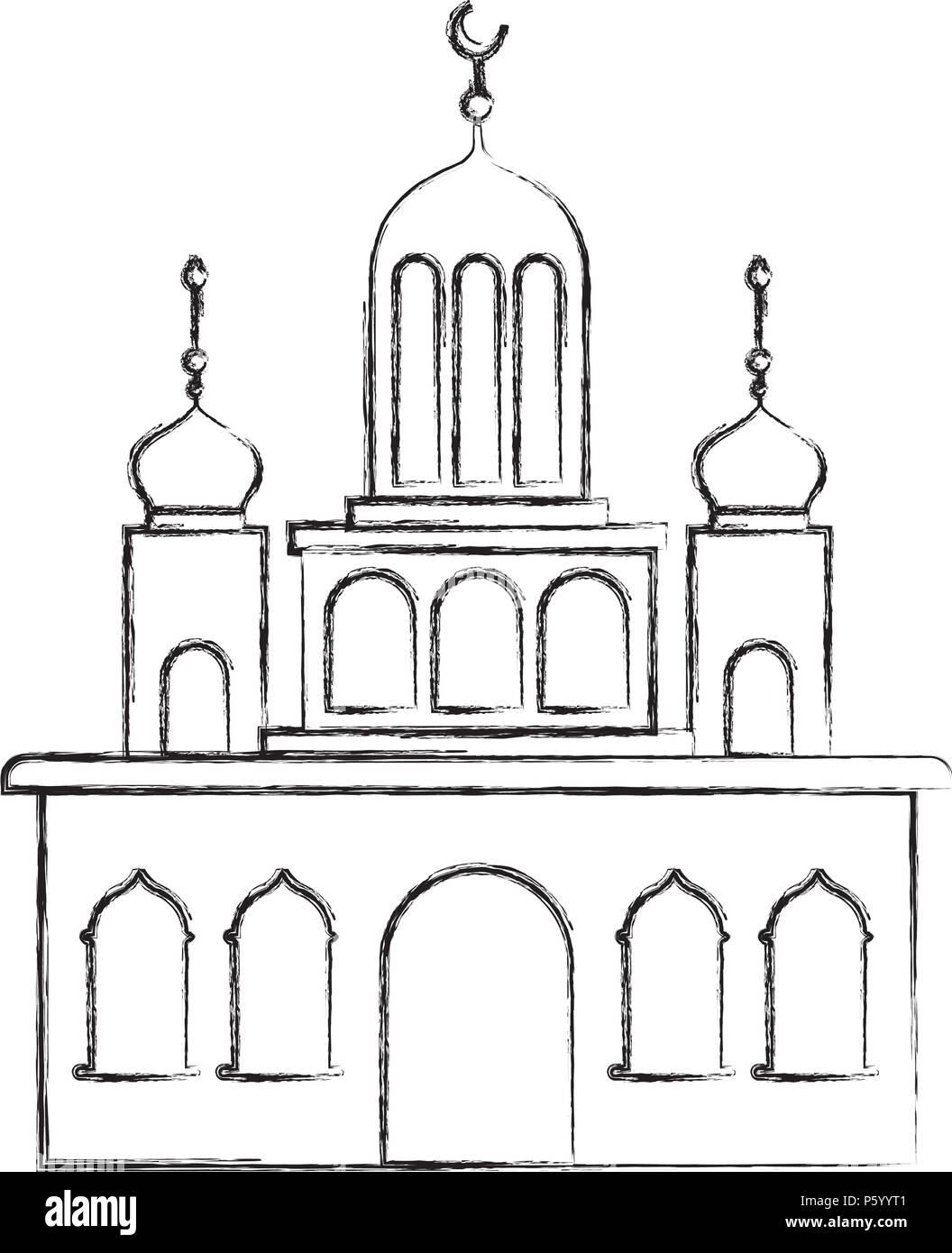 Castillo árabe torre con luna Ilustración del Vector