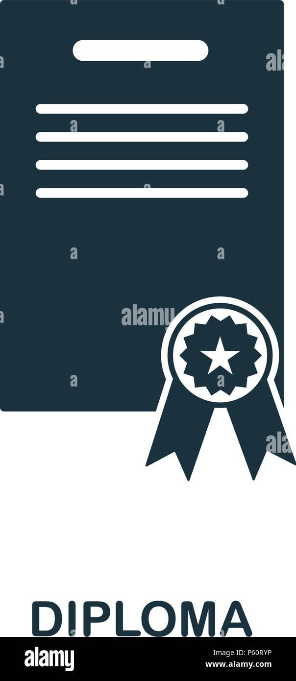 Icono de diploma. El diseño de iconos de estilo de línea. Interfaz de usuario. Imagen del icono del diploma. Pictograma aislado en blanco. Listo para usar en diseño web, aplicaciones, software de impresión. Imagen De Stock
