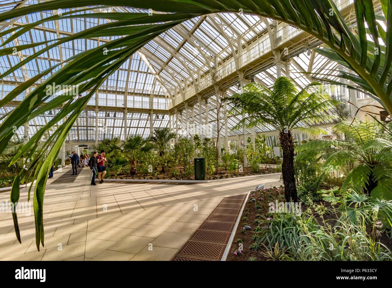 La gente que visita los Jardines de Kew en la recién restaurada casa templada que ya reabrió sus puertas a los visitantes después de un proyecto de restauración de 5 años, en mayo de 2018 Imagen De Stock