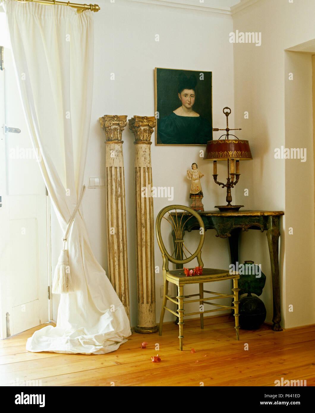 Silla lateral francés Luis Beige Tartán Estilo Antiguo Crema de comprobación de Comedor Dormitorio