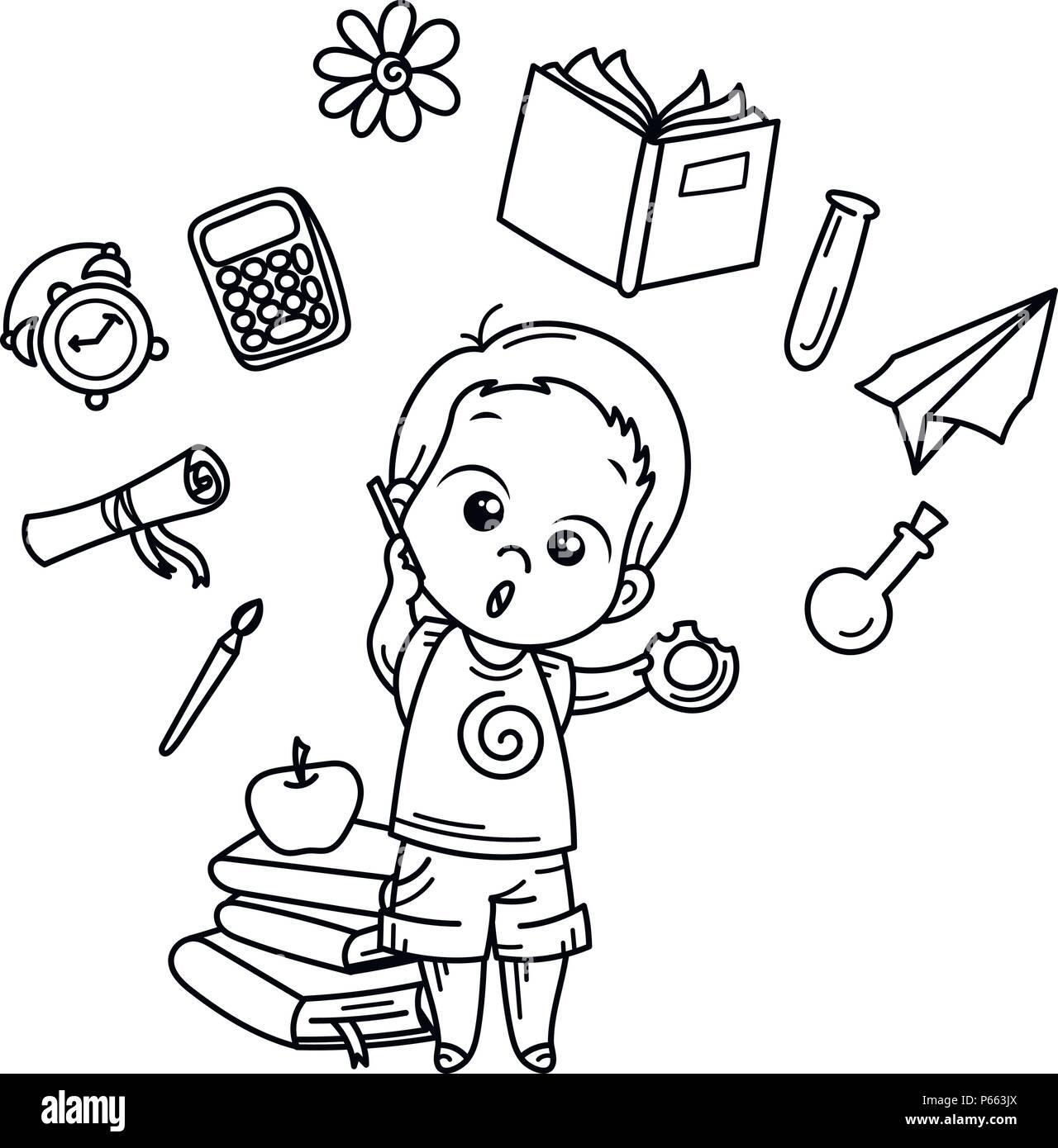 Chico lindo listo para la escuela. Ilustración vectorial para libros ...