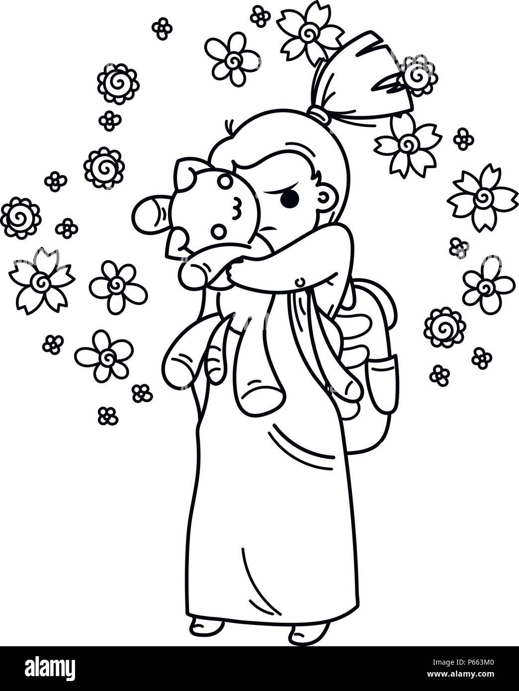 Linda chica listo para la escuela. Ilustración vectorial para libros ...