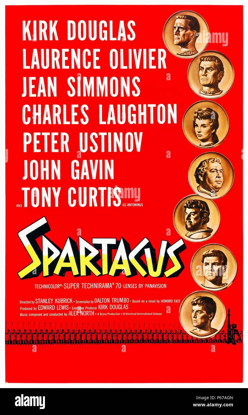 Espartaco (1960), dirigida por Stanley Kubrick y protagonizada por Kirk Douglas, Laurence Olivier, Jean Simmons, y Peter Ustinov. Espartaco lidera una revuelta de esclavos contra la tiranía de Roma. Foto de stock