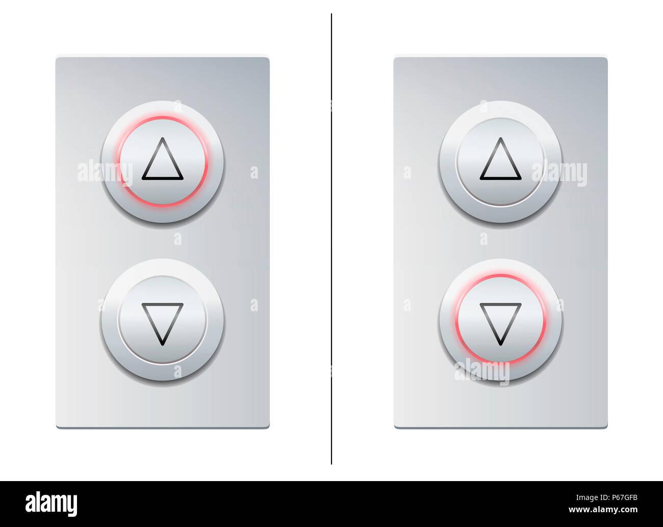 Botones de llamada de elevación para elegir con las flechas hacia arriba o hacia abajo - Ilustración sobre fondo blanco. Imagen De Stock