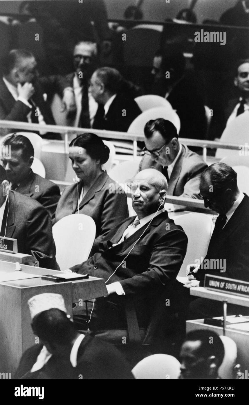 Fotografía de Nikita Khrushchev (1894-1971) un político ruso que llevó a la Unión Soviética durante parte de la guerra fría. Fecha 1960 Imagen De Stock