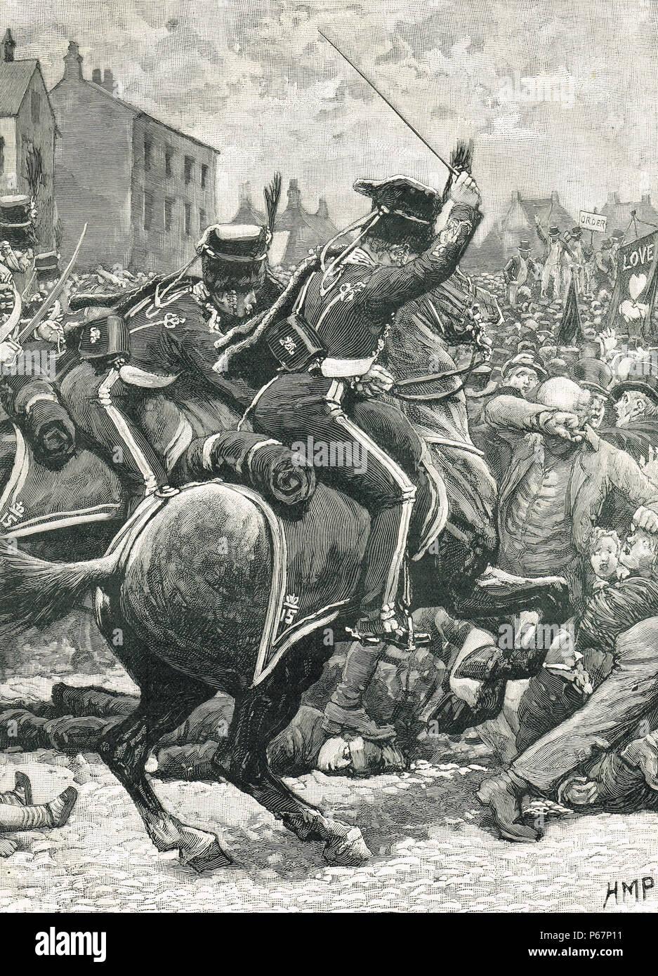 La masacre de Peterloo, 16 de agosto de 1819. Foto de stock