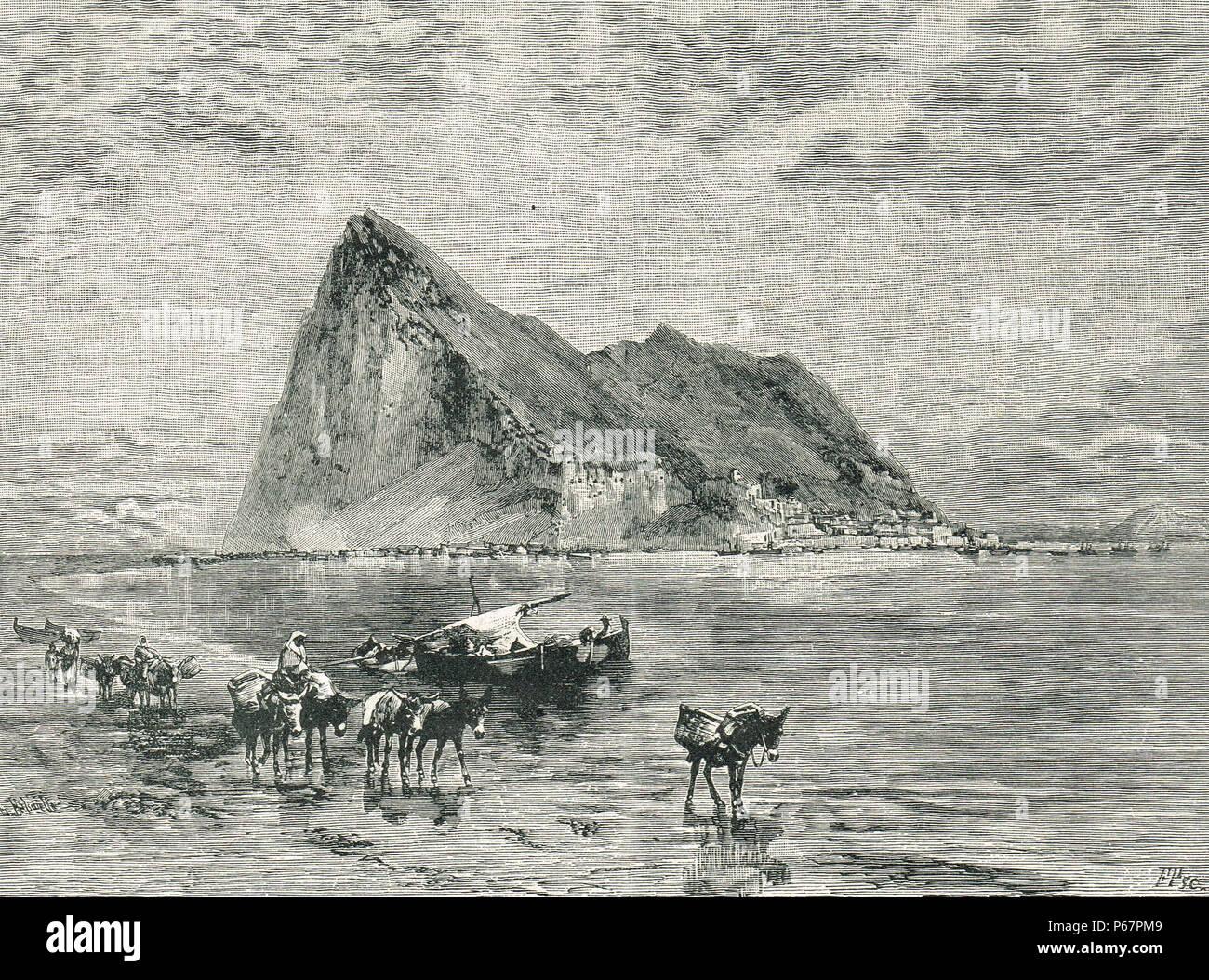 Peñón de Gibraltar, la ilustración del siglo XIX. Imagen De Stock