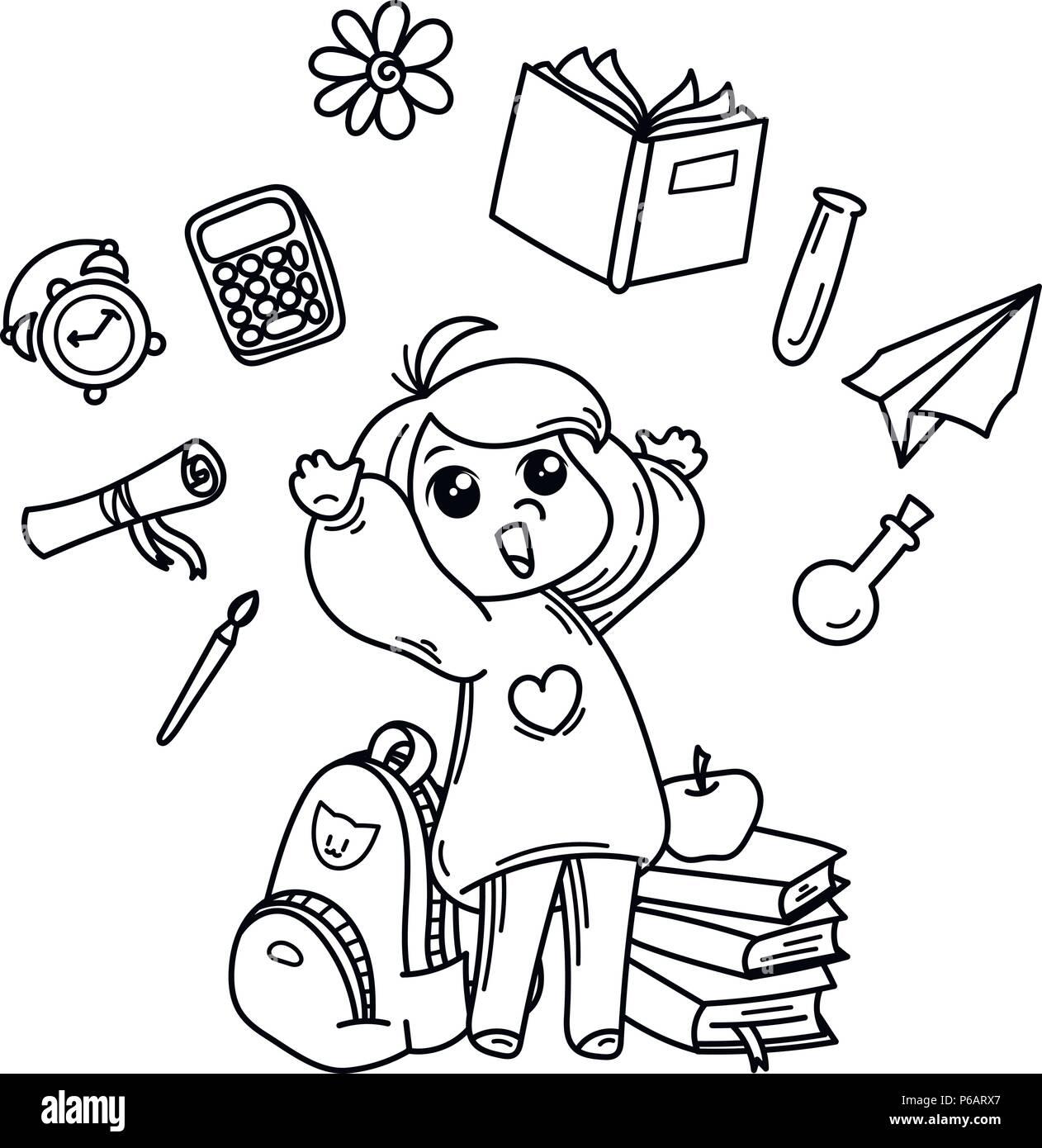 Girl Pointing Little Boy Illustration Imágenes De Stock & Girl ...