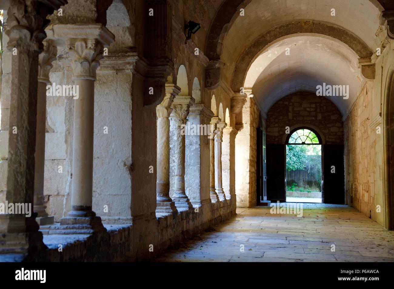 Francia, Provence Alpes Côte d'Azur, en el departamento de Bouches du Rhone, Alpilles, Saint Remy de Provence, Saint Paul de Mausole monasterio, el claustro Foto de stock