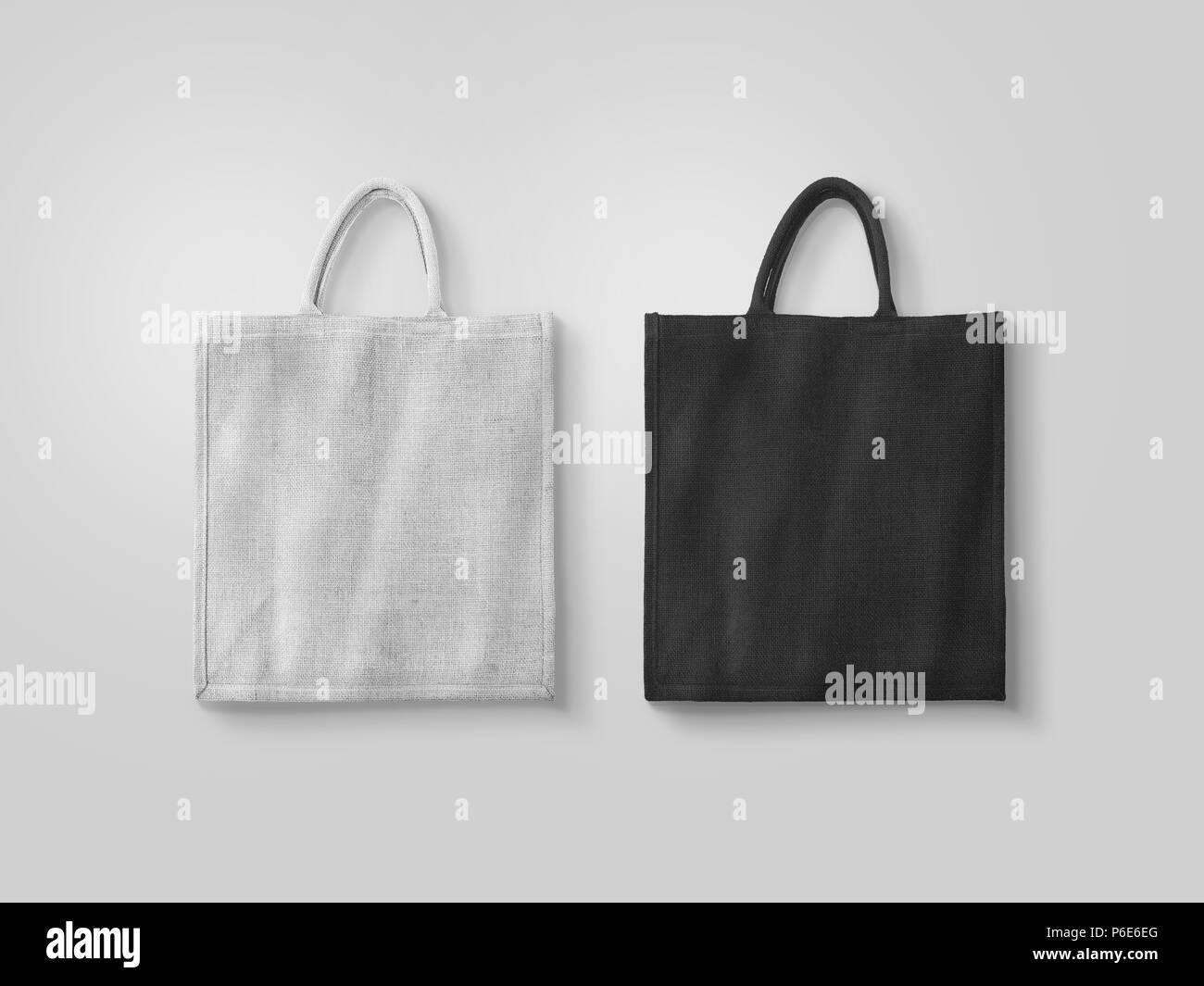 Negro y Blanco en blanco algodón bolsa ecológica maqueta diseño ...