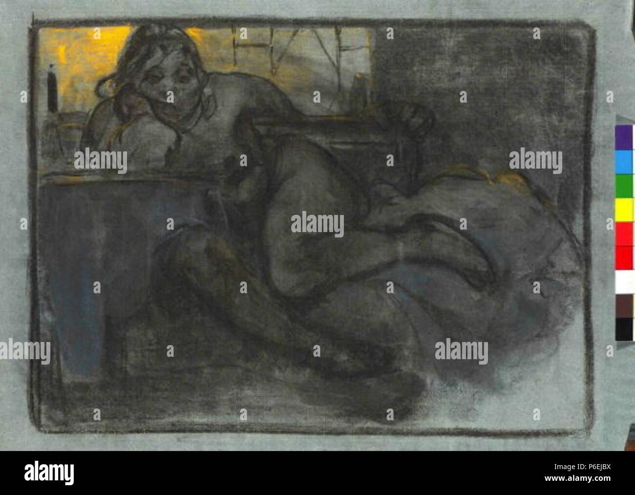 . Eština: La llamada absint (Studie ženy) después de 1900 6 Autor Alfons Mucha 24.7.1860-14.7.1939 - La llamada absint Studie zeny Foto de stock