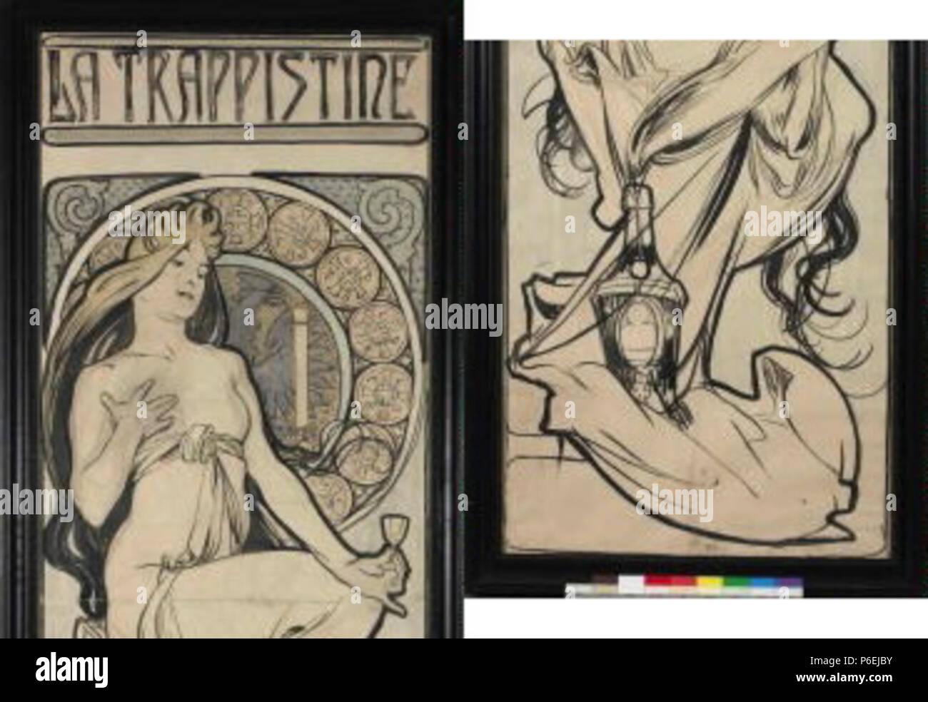 .: La Trappistine eština - návrh na plakát circa 1897 6 Autor Alfons Mucha 24.7.1860-14.7.1939 - La Trappistine navrh plakat - NA Foto de stock