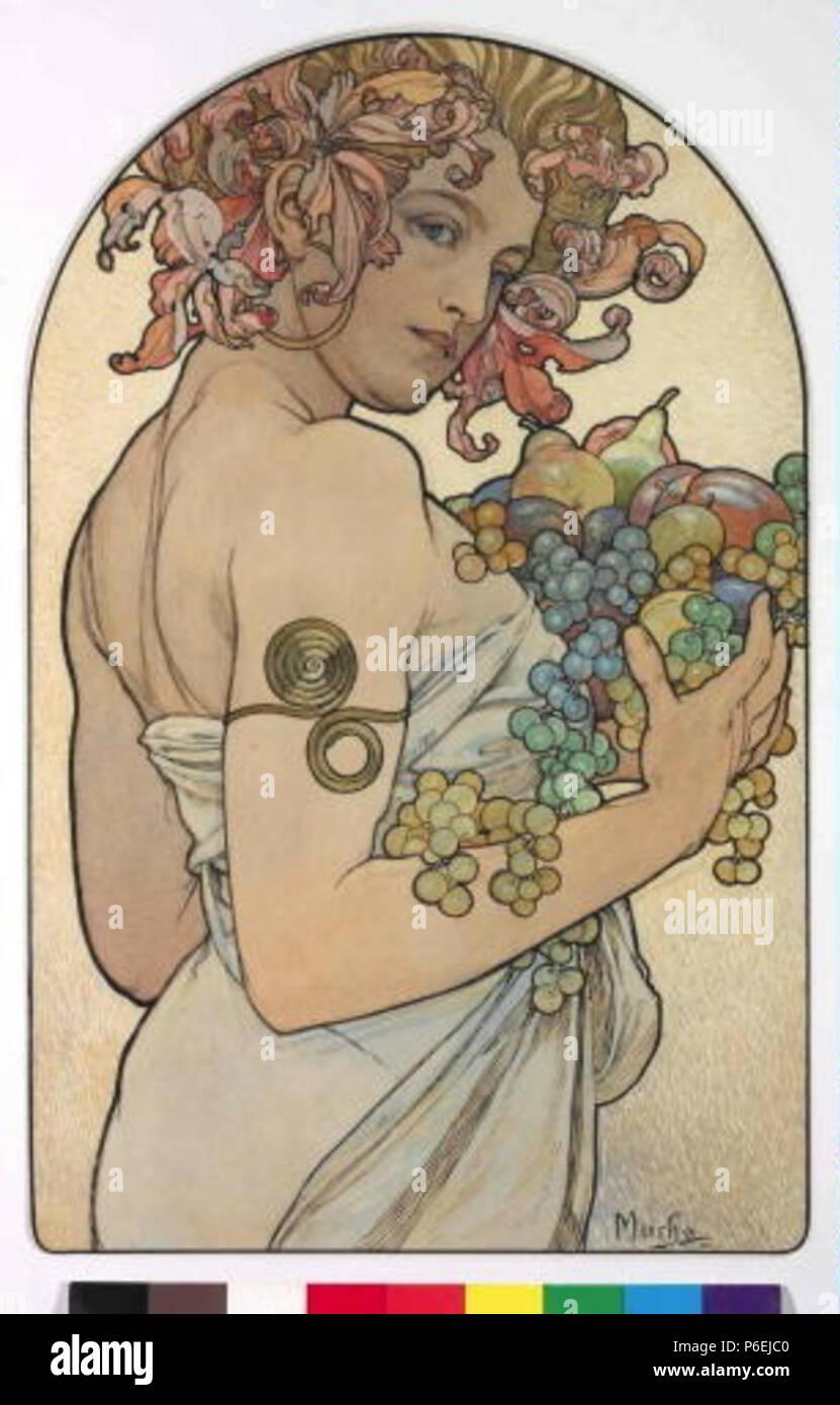 .: Alegorie eština Podzimu 1902 6 Autor Alfons Mucha 24.7.1860-14.7.1939 - Alegorie Podzimu Foto de stock