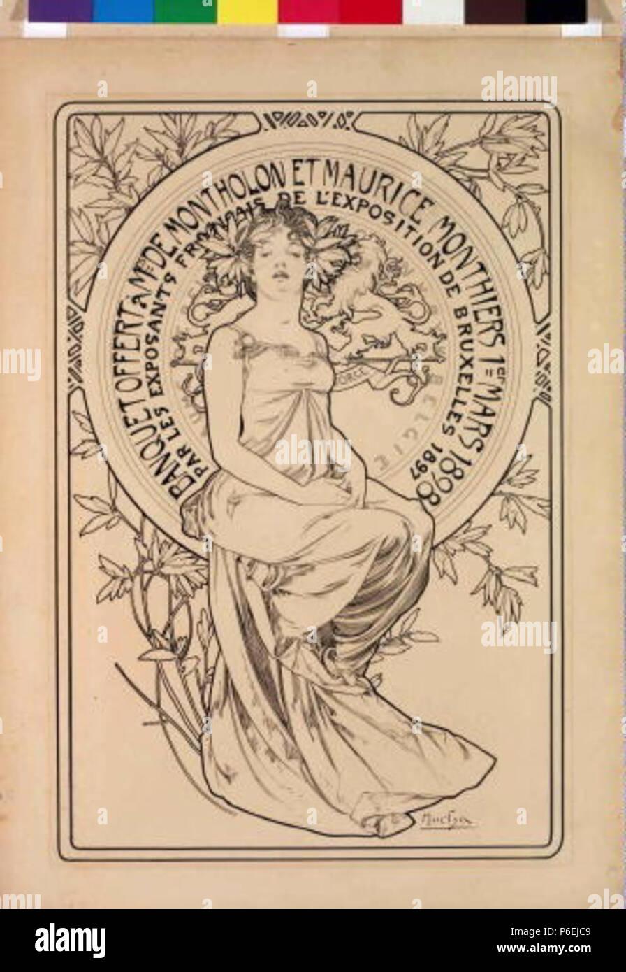 .: Plakát banket eština na 1898 6 Autor Alfons Mucha 24.7.1860-14.7.1939 - Plakat na banket Foto de stock